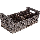 Brown Rectangle Woven Basket With Dividers